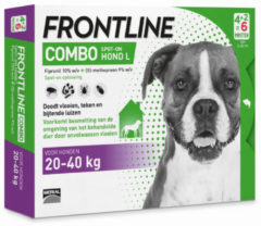 Frontline Combo - L: van 20 tot 40 kg - Anti vlooienmiddel en tekenmiddel - Hond - 6 pipetten