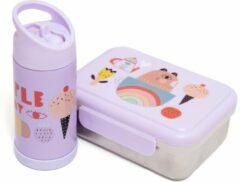 Petit Monkey set lunchbox + drinkfles roestvrij staal - Paars - Brooddoos broodtrommel - Drinkbus