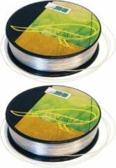 2x Nylon hobby binddraad/etalagedraad 5mm x 25 meter op rol - Transparant - Sieradendraad - Visdraad - Nylon draad op rol