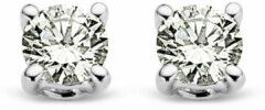 Goudkleurige Diamond Point Witgouden solitair groeibriljant oorstekers, 0.08 ct. 0.08 ct diamant Groeibriljant
