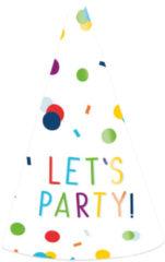 Amscan Feesthoedjes Let's Party 16 Cm Papier Wit 8 Stuks