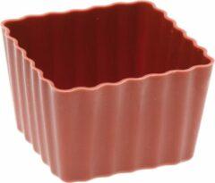 Bruine Siliconen Bakvorm - Sambonet - Cupcake vierkant mini - voor 6 stuks