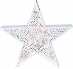 Lesliliving Windlicht ster wit 35.5cm - Lesli Living - Kerst