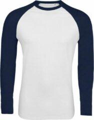 Marineblauwe SOLS Heren Funky Contrast T-Shirt met lange mouwen (Witte/franse marine)