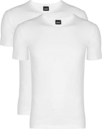 Afbeelding van 2-pack: Hugo Boss stretch T-shirts Slim Fit - O-hals - wit - Maat XL