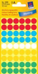 Avery Ronde etiketten diameter 12 mm, geassorteerde kleuren, 270 stuks