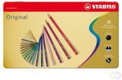 Kleurpotloden Stabilo 8778 original blik à 38 stuks assorti