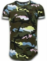 Roze Tony Backer Known Camouflage T-shirt - Long Fit Shirt Army - Pink Known Camouflage T-shirt - Long Fit Shirt Army - Bordeaux Heren T-shirt Maat L
