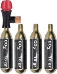 Zilveren MTB Cycling CO2 pomp - mini fietspomp set met 4x CO2 patronen - 16 gram