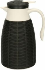 Gerim 1x Zwarte rotan koffiekan/isoleerkan 1 liter - Koffiekannen/theekannen/isoleerkannen/thermoskannen