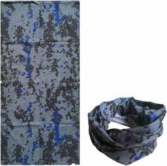 Fako Fashion® - Microfiber Faceshield - Bandana - Nekwarmer - Sjaal - Block Grijs/Blauw