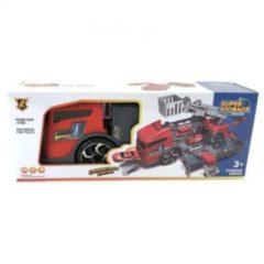 Rode Brandweer Garage in Truck Speelset + Licht en Geluid