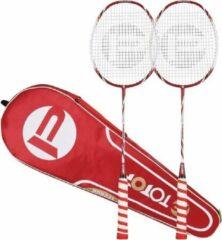 Pro-Care TOPOP Flasboost 2 Badmintonrackets - High Modules Grafiet Materiaal - Extra Licht - Professioneel - 3 Gratis Ganzen Shuttles - Gratis Sporttas - Rood Wit
