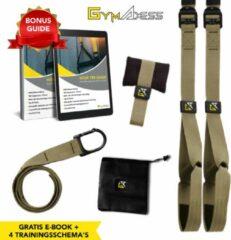 Donkergroene GymAxess GymAxes - Suspension Trainer Groen - Met eBook, 4 trainingsschema's Deurhaak & opbergtas - Resistance Band - TRX Pro - TRX Suspension Trainer