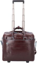 Bruine Piquadro Black Square Briefcase with wheels brown Zakelijke koffer