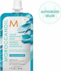 Blauwe Moroccanoil Color Depositing Mask Aquamarine - verzorgend, uitwasbaar kleurmasker voor (licht-)blond tot medium blond haar