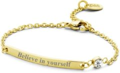 CO88 Collection Inspirational 8CB 90139 Stalen Plaatarmband met Tekst - Believe in Yourself - Lengte 16 + 3 cm - Goudkleurig