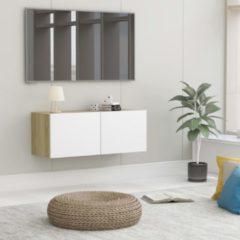 Beige VidaXL Tv-meubel 80x30x30 cm spaanplaat wit en sonoma eikenkleurig