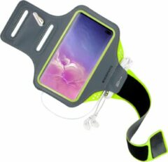 Groene Mobiparts Comfort Fit Sport Armband Samsung Galaxy S10 Plus Neon Green