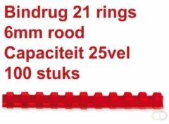 Rode Fellowes bindruggen, pak van 100 stuks, 6 mm, rood