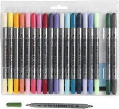 Creotime Textielstiften, extra kleuren, lijndikte 2,3+3,6 mm, 20 stuk/ 1 doos