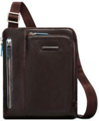 Bruine Piquadro Blue Square iPad Shoulder Pocketbook mahogany