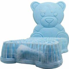 Lichtblauwe Bobbels & Putten Bad borstel beer – licht blauw - washandjes - badborstel baby - massage borstel - massage spons - spons bad kind - silicone