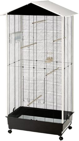 Afbeelding van Witte Ferplast Vogelkooi Voliere Nota - 58 x 82 x 166 cm - Wit/Zwart