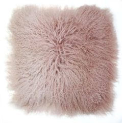 Dutchskins Kussen Tibetaanse schapenvacht roze - wit gradient - Mongools schapenvacht kussen - Sierkussen schapenvacht