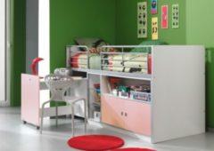 Vipack Furniture Vipack Halbhochbett Bonny 91 Fronteinstieg, rosa