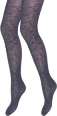 Marineblauwe Merkloos / Sans marque Panty - Curtney - Marine - Barok motief - Maat S/M