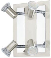 Roestvrijstalen EGLO Rottelo - Plafondspots - 4 Lichts - Nikkel-Mat, Chroom