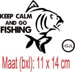 Zwarte Debrocanterievriescheloo Auto sticker / raamsticker voor de vissers afmeting 11 x 14 cm