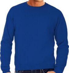 Bc Grote maten sweater / sweatshirt trui blauw met ronde hals voor heren - blauwe - basic sweaters 4XL (60)