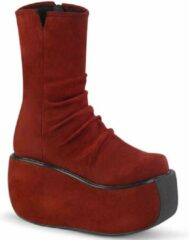 Bordeauxrode Demonia Plateau Laarzen -39 Shoes- VIOLET-100 US 9 Bordeaux rood