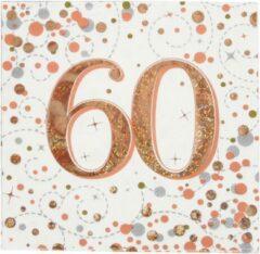 Roze Oaktree UK Servetten 60 jaar Rose Gold (16 stuks)
