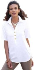 Naturelkleurige Casual Looks blouse met licht afgeronde zoomrand