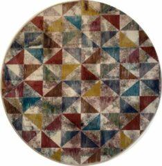 Bordeauxrode Impression Rugs Picasso Sahra Vintage Rond Vloerkleed Multi Laagpolig - 133 CM ROND
