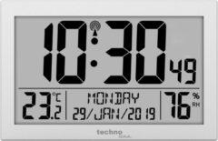 Zilveren Technoline WS-8016 Radio gestuurd klok /termometer/datum