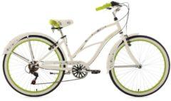 KS Cycling Beachcruiser Damen, 26 Zoll, weiß-grün, 6 Gang-Kettenschaltung, »Bellefleur«