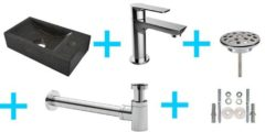 Douche Concurrent Fonteinset HS Rechthoek Rechts 36x18x9cm Hardsteen Antraciet Toiletkraan Sifon Plug Bevestigingsset