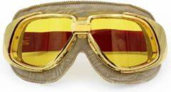 Ediors retro goud, beige leren motorbril | Geel glas