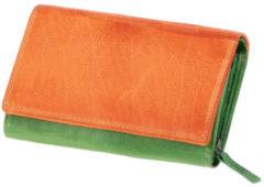 Transparante Juscha Portefeuille Mika groen/oranje dame 17x11,5x4cm . 42186