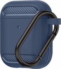 Merkloos / Sans marque Carbon hoesje voor Apple Airpods Blauw Shockproof Case