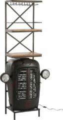 Duverger® Tractor - Barmeubel - zwart - metaal - 3 houten leggers - ophangrek glazen