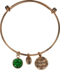 CO88 Collection Birthstone 8CB 12005 Stalen Armband met Hangers - Geboortesteen Mei met Swarovski Elements - One-size - Vintage Rosékleurig / Groen