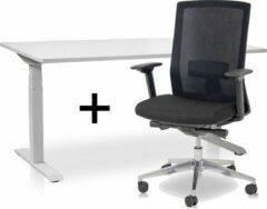 Lineaflex MRC Zit-sta bureau elektrisch verstelbaar + ERGO Bureaustoel | ARBO PRO Thuiswerkset | frame bureau wit - bureaublad wit | 120x80 cm