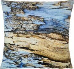 Swan Spring – Light Blue Wood – Sierkussenhoes – Blauw - Bruin - Zwart - 45cm x 45cm