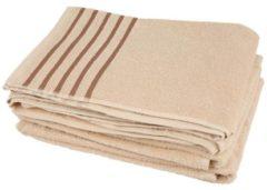 CLASS HOME COLLECTION Handtuch beige mit Streifen, 50 x 100 cm, 4er-Set
