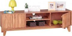 Wohnling Lowboard BELUR Massivholz Akazie Kommode 146cm TV-Board 2 Fächer und Türen Landhaus-Stil Unterschrank TV-Möbel